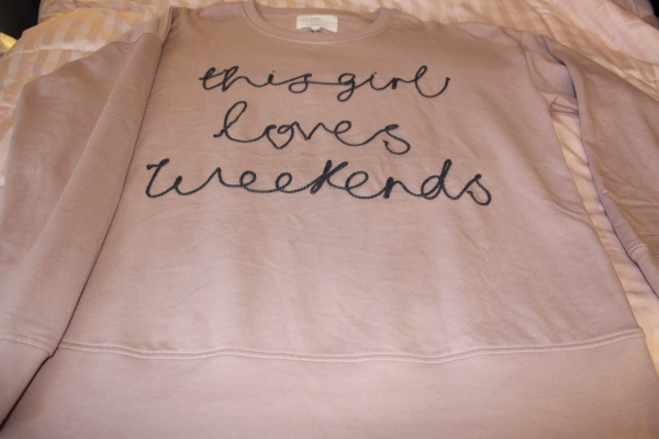 Embroidered This Girl Loves Weekends Sweat Top