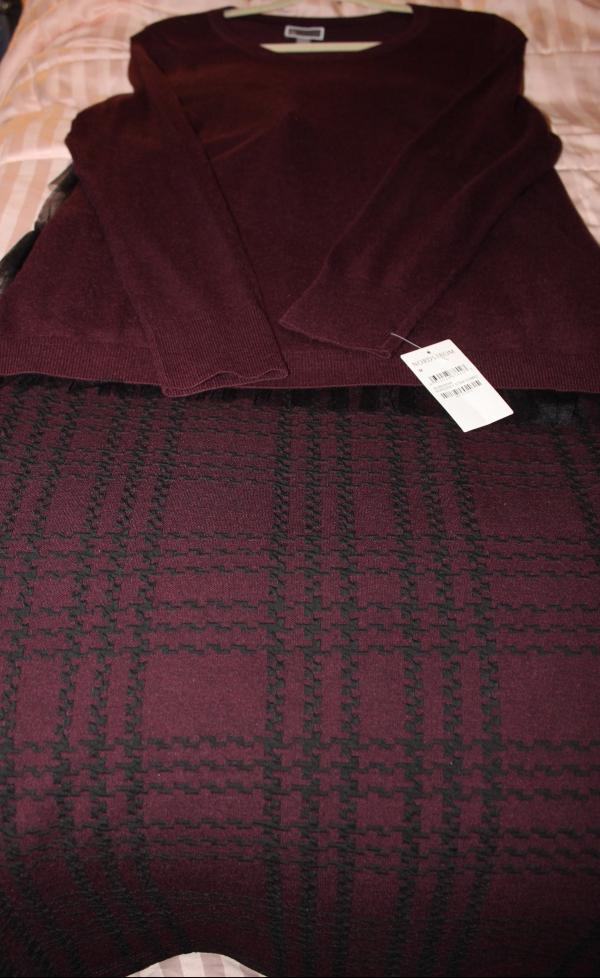 Chelsea28 Tulle Back Sweater & Marks & Spencer Skirt