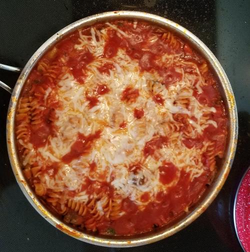 Finished skillet lasagna